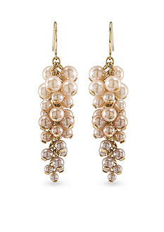 Carolee Gold-Tone Pink Champagne Cluster Pierced Earrings