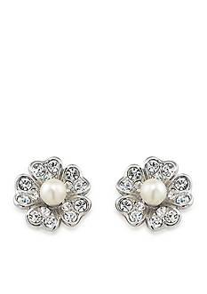 Carolee Silver-Tone Pearl Flower Button Earrings