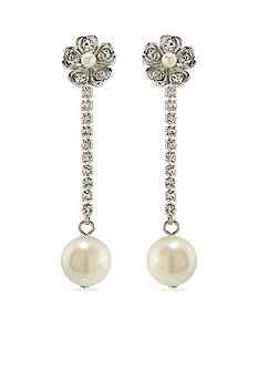Carolee Silver-Tone Grand Entrance Linear Drop Earrings