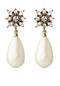 Carolee Gold-Tone LUX Collection Magda Floral Crystal and Pearl Teardrop Earrings