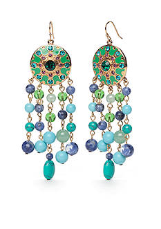 Carolee Limited Edition Gold- Tone Multi Color Semi Precious Stone Chandelier Pierced Earrings