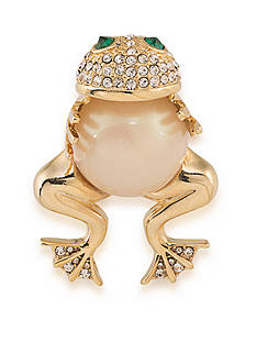 Carolee Gold-Tone Frog Hugger Pin