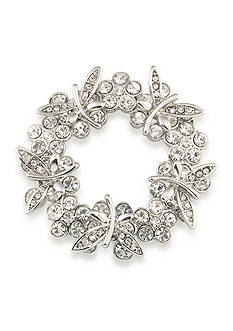 Carolee Silver-Tone Mom's the Word Butterfly Blooms Wreath Pin