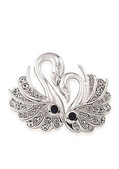 Carolee Silvertone Swans of Love Pin