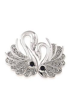 Carolee Silvertone Swans of Love Pin