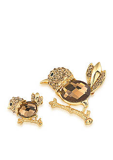 Carolee Gold-Tone Doubles Club Set of Two Topaz Bird Pins