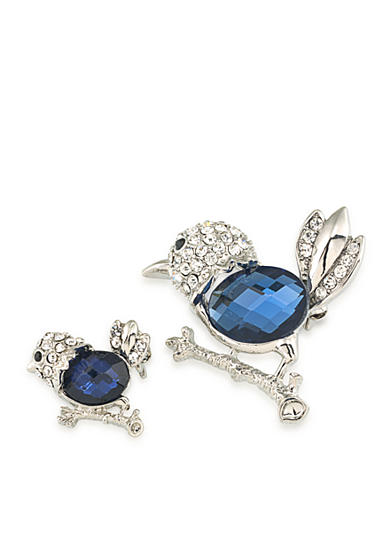 Carolee Silver-Tone Doubles Club Set of Two Blue Bird Pins