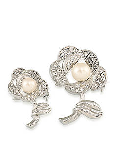 Carolee Silver-Tone Doubles Club Set of Two Pearl Rose Pins