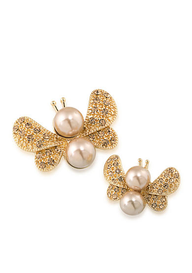 Carolee Gold-Tone Doubles Club Set of Two Butterfly Pins