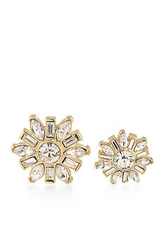 Carolee Gold-Tone Doubles Club Set of Two Crystal Flower Pins