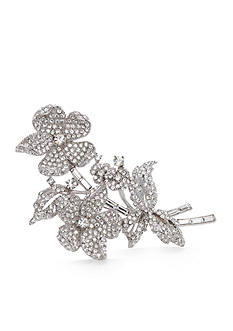 Carolee Limited Edition Silver-Tone Crystal Double Flower Pin