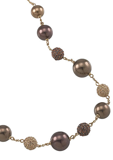 Carolee Gold-Tone and Brown Pearl Illusion Necklace