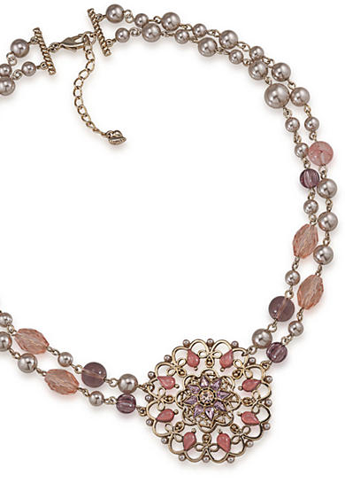 Carolee Rose Colored Glow Two Row Pendant Necklace