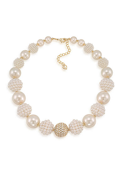 Carolee Clare White Bold Beaded Collar Necklace