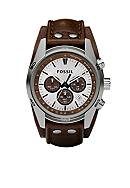 Fossil® Leather Cuff Watch
