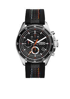 Fossil Decker Chronograph Black Silicone Watch