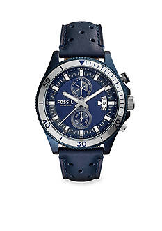 Fossil® Men's Wakefield Blue Leather Strap Chronograph Watch