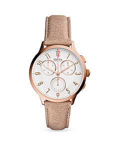 Fossil® Women's Rose Gold-Tone Abilene White Leather Strap Chronograph Watch