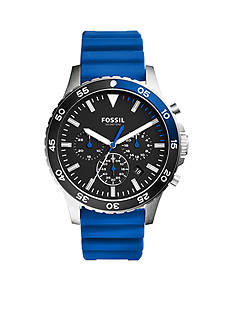 Fossil Men's Crewmaster Sport Chronograph Blue Silicone Watch