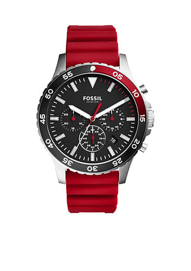 Fossil® Men's Crewmaster Sport Chronograph Red Silicone Watch