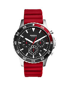 Fossil Men's Crewmaster Sport Chronograph Red Silicone Watch