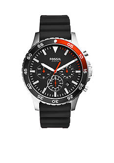 Fossil Men's Crewmaster Sport Chronograph Black Silicone Watch