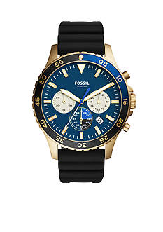 Fossil® Men's Gold-Tone Crewmaster Sport Chronograph Black Silicone Watch