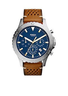 Fossil® Men's Crewmaster Chronograph Light Brown Leather Watch
