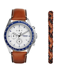 Fossil® Men's Silver-Tone Sport 54 Chronograph Luggage Leather Watch and Bracelet Box Set