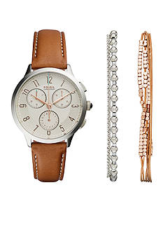 Fossil Abilene Chronograph Leather Watch and Jewelry Box Set