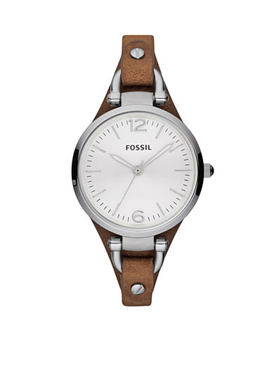 Fossil® Georgia Leather and Stainless Steel Watch