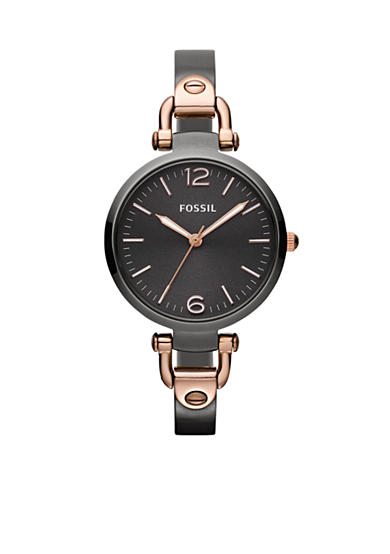 Fossil® Ladies Round Smoke and Rose Gold Tone Georgia Watch