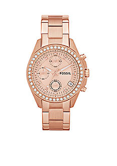 Fossil® Women's Rose Gold-Tone Stainless Steel Chronograph Decker Glitz Watch