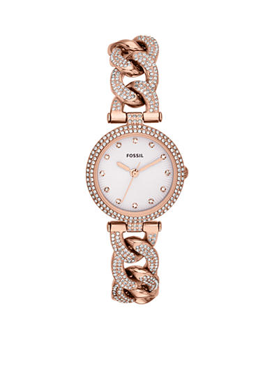 Fossil® Women's Rose Gold-Tone Stainless Steel Three-Hand Olive Glitz Watch