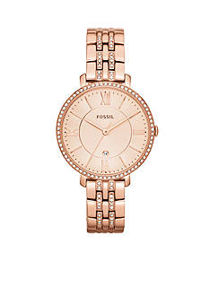 Fossil Women's Rose Gold-Tone Stainless Steel Three-Hand with Date Glitz Jacqueline Watch