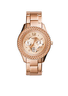 Fossil® Women's Rose Gold-Tone Stainless Steel Stella Multifunction Glitz Watch