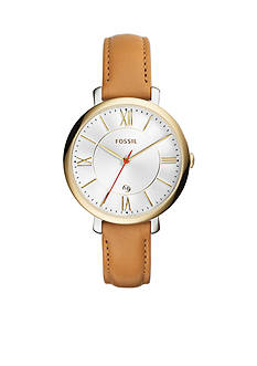Fossil® Jacqueline Three-Hand Date Tan Leather Watch