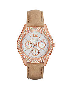 Fossil Women's Stella Sand Leather Strap Multifunction Watch