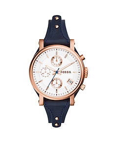Fossil Women's Original Boyfriend Blue Leather Chronograph Watch
