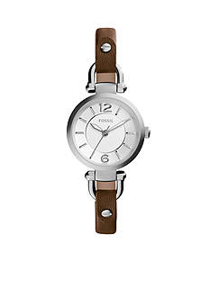 Fossil Women's Georgia Dark Brown Leather Watch