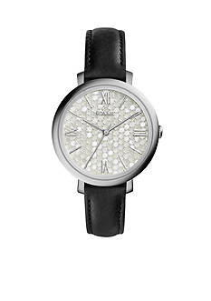 Fossil® Women's Jacqueline Black Leather Strap Three-Hand Watch