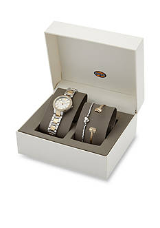 Fossil® Virginia Two-Tone Stainless Steel Three-Hand Box Set