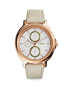Fossil® Women's Chelsey Rose Gold-Tone White Leather Strap Multifunction Watch