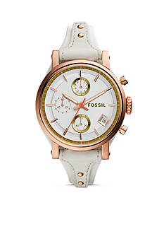 Fossil® Women's Original Boyfriend Rose Gold-Tone White Leather Chronograph Watch