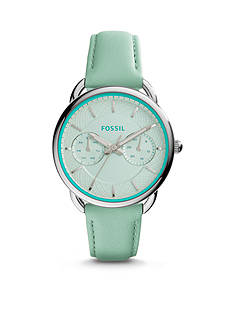 Fossil® Women's Tailor Mint Green Leather Multifunction Watch