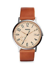 Fossil® Women's Vintage Muse Stainless Steel Brown Leather Strap Three-Hand Watch