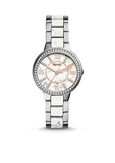 Fossil® Women's Virginia Stainless Steel and White Reconstituted Stone Three- Hand Glitz Watch