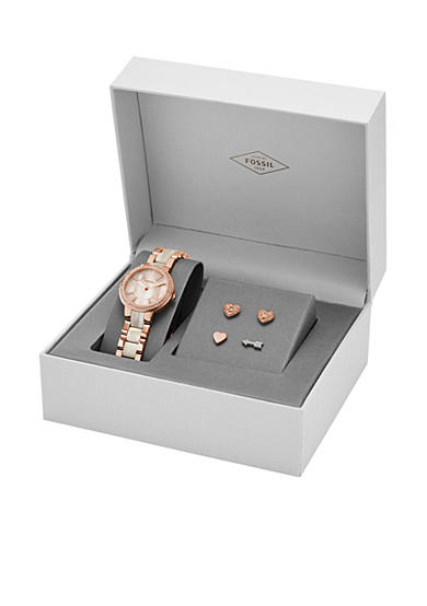 Fossil® Women's Virginia Rose-Gold Tone Stainless Steel and Shimmer Horn Bracelet Watch - Box Set