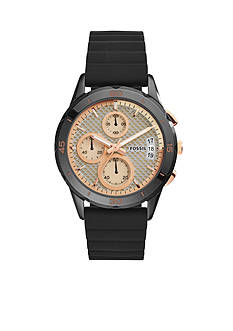 Fossil® Women's Modern Pursuit Black Silicone Chronograph Watch