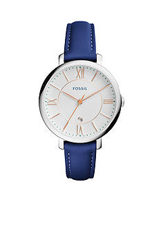 Fossil® Women's Jacqueline Blue Leather Three-Hand Watch